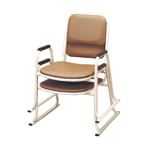 肘付スチール製パイプ椅子 座高30cm 4脚組