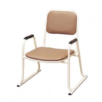 肘付スチール製パイプ椅子 座高42cm