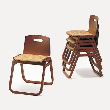 木製本堂用椅子 背もたれ付 座高40㎝