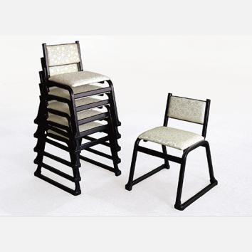 アルミ製本堂用椅子 背もたれ付 座高40㎝ 5脚組 V-TA型